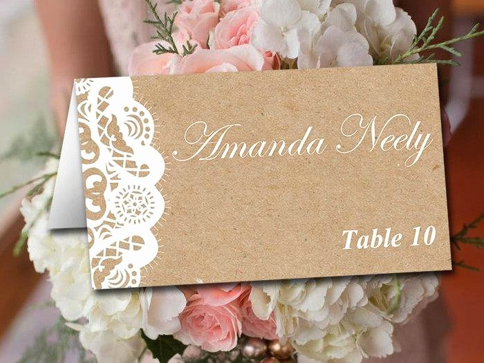 Fold Over Place Card Template Unique Fold Over Wedding Place Card Template Kraft Escort Card
