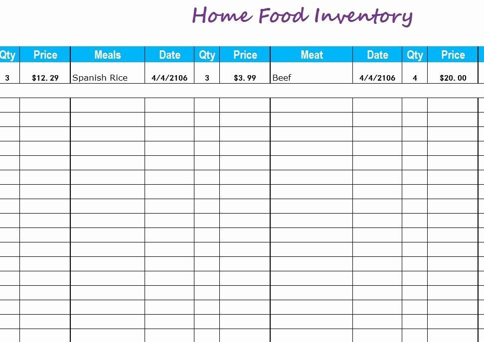 Food Inventory List Template Best Of Home Food Inventory My Excel Templates