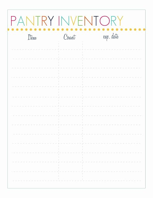 Food Inventory List Template Fresh Free Pantry Inventory Printable