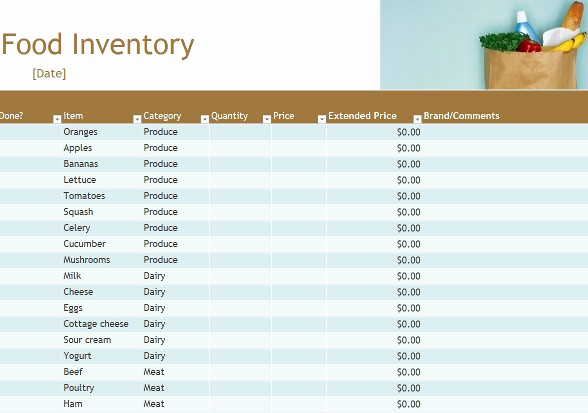 Food Inventory List Template Lovely Food Inventory