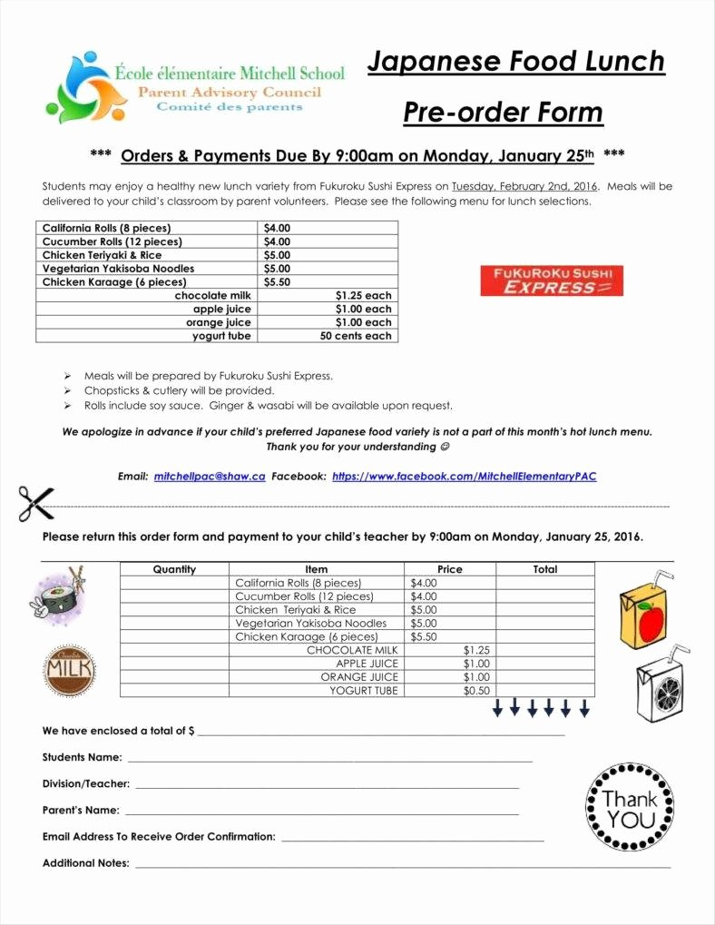 Food order form Template Best Of 10 Food order form Templates Word Docs