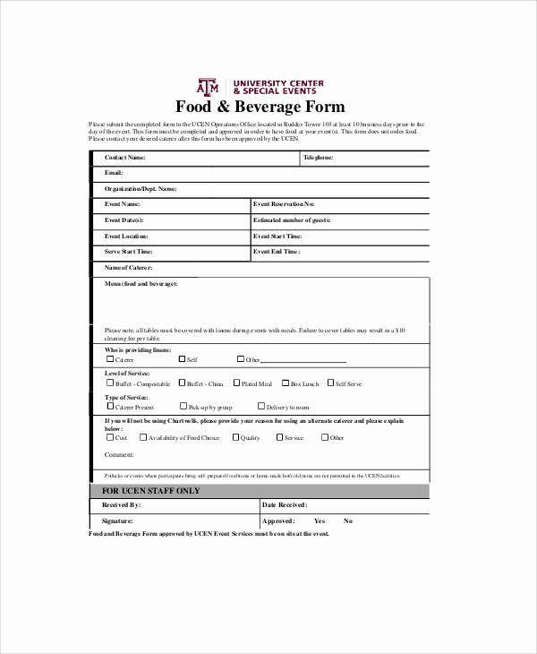 Food order form Template Best Of Sample Food order form 9 Examples In Word Pdf