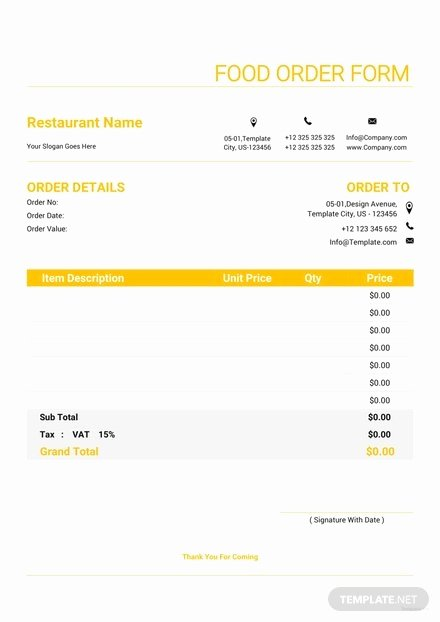 Food order form Template Elegant Phone Call Log form Template Download 67 forms In Word