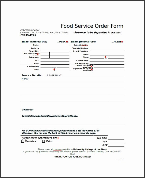 Food order form Template Luxury 8 Easy to Use Sample order form Template
