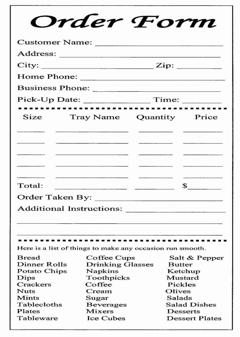 Food order form Template New Catering or Carryout form Used for Online ordering and