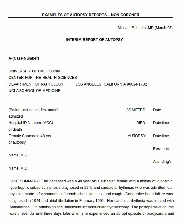 Forensic Report Template Microsoft Word Fresh Autopsy Report Template 6 Free Word Pdf Documents