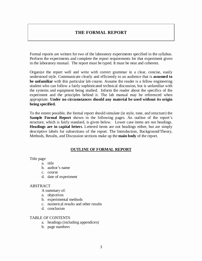 Formal Business Report Template Awesome 8 formal Report Template Examples Pdf