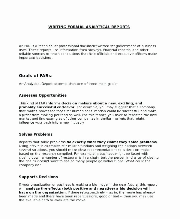 Formal Business Report Template Awesome formal Business Report format Example