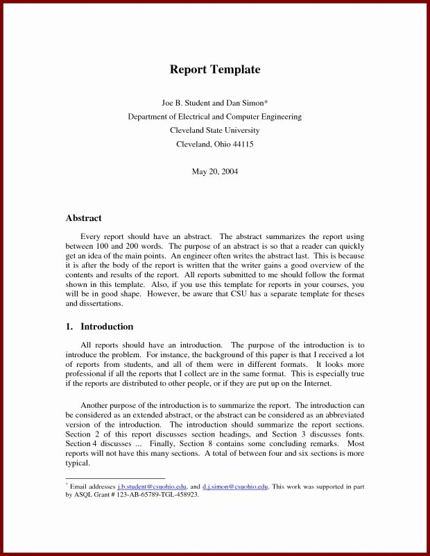 Formal Business Report Template Beautiful Business Report format