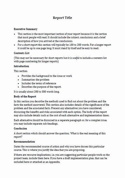 Formal Business Report Template Elegant Business Report format