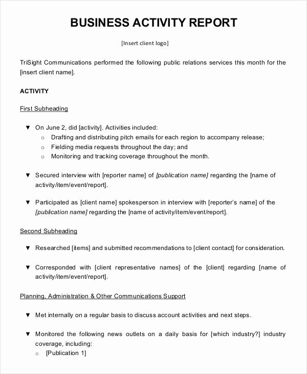 Formal Business Report Template Fresh 10 Business Activity Report Templates Word Pdf Pages