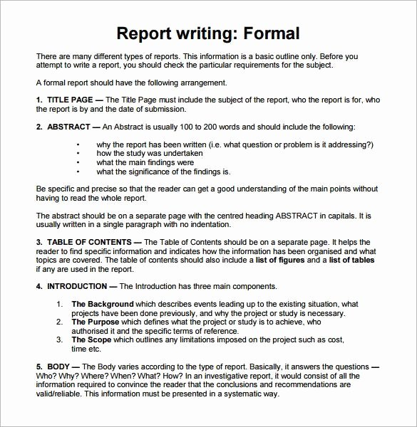 Formal Business Report Template Fresh 30 Sample Report Writing format Templates Pdf