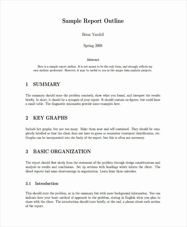 Formal Business Report Template Inspirational 7 formal Outline Templates Free Sample Example format