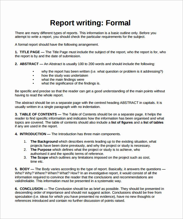 Formal Business Report Template Inspirational Sample formal Report 25 Documents In Pdf Word Docs