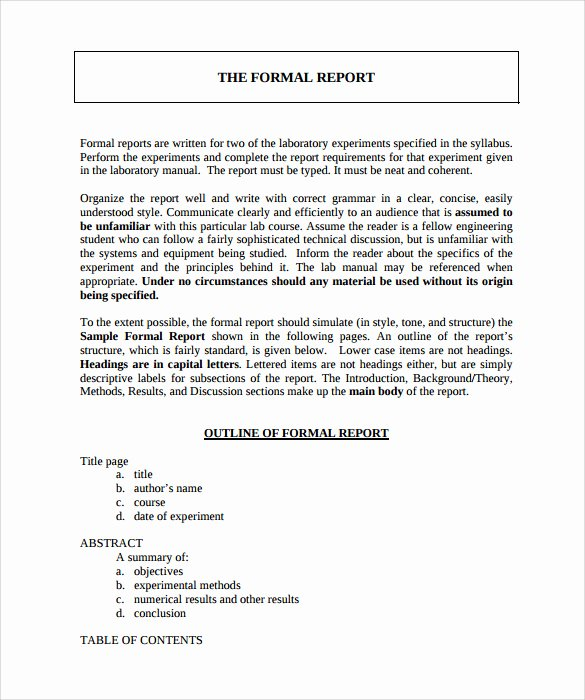 Formal Business Report Template New Sample formal Report 25 Documents In Pdf Word Docs