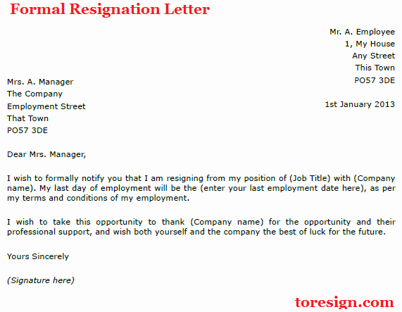 Formal Resign Letter Template Awesome formal Resignation Letter
