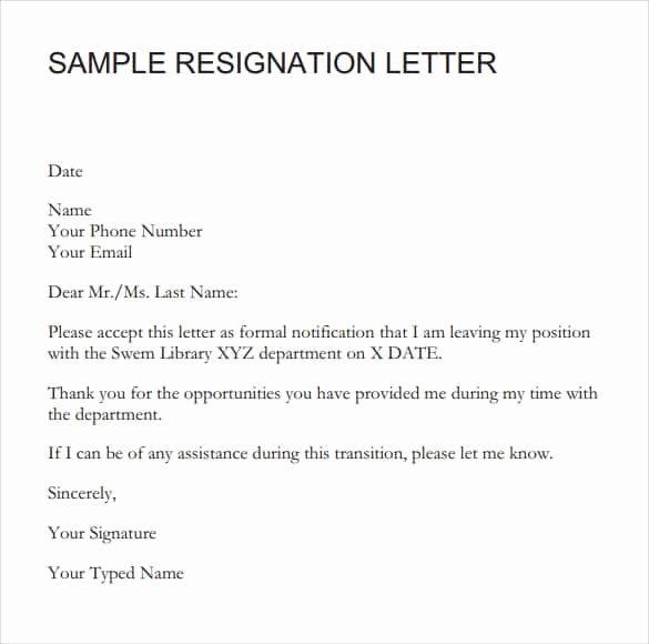 Formal Resign Letter Template Best Of 9 Resignation Letter Sample Writing Letters formats