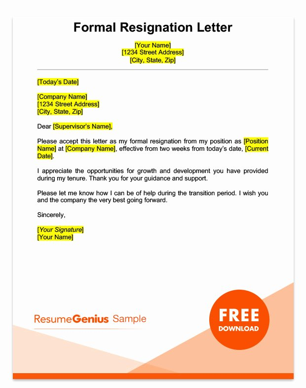 Formal Resign Letter Template Best Of Two Weeks Notice Letter Sample Free Download
