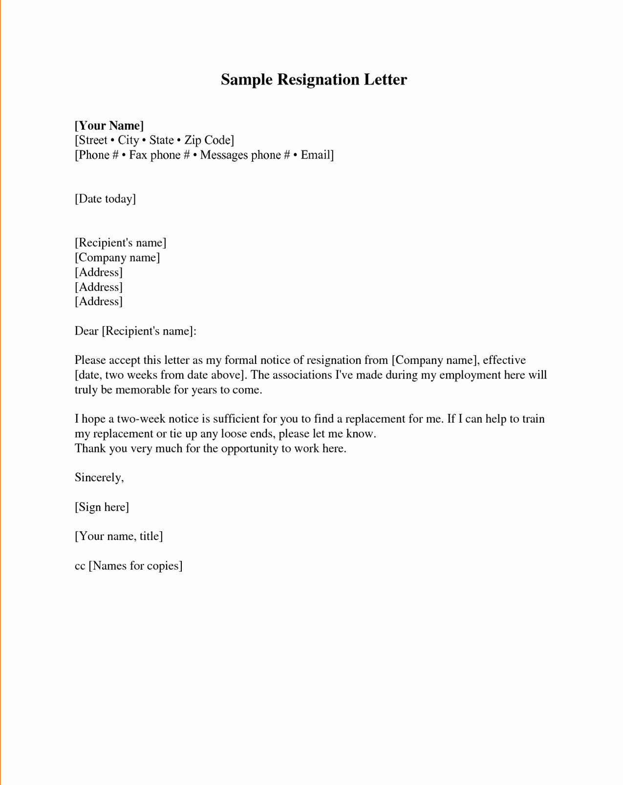 Formal Resign Letter Template Elegant Resignation Letter Samples Download Pdf Doc format