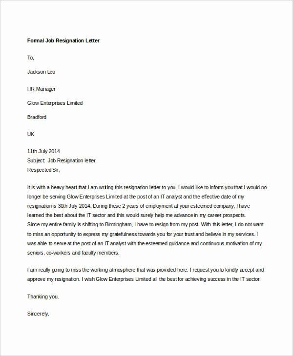 Formal Resign Letter Template Fresh 14 formal Resignation Letters Free Sample Example
