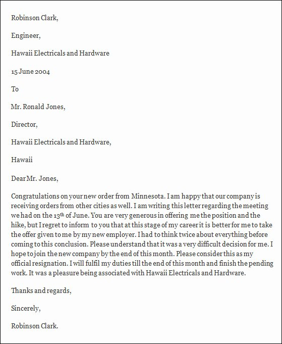 Formal Resign Letter Template Fresh Free 40 formal Resignation Letters Templates In Pdf