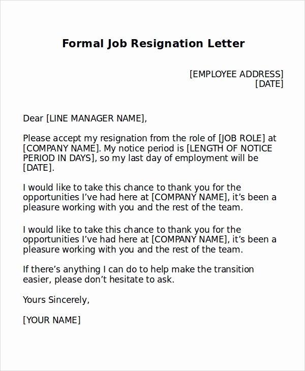 Formal Resign Letter Template Inspirational formal Resignation Letter Sample 8 Examples In Word Pdf