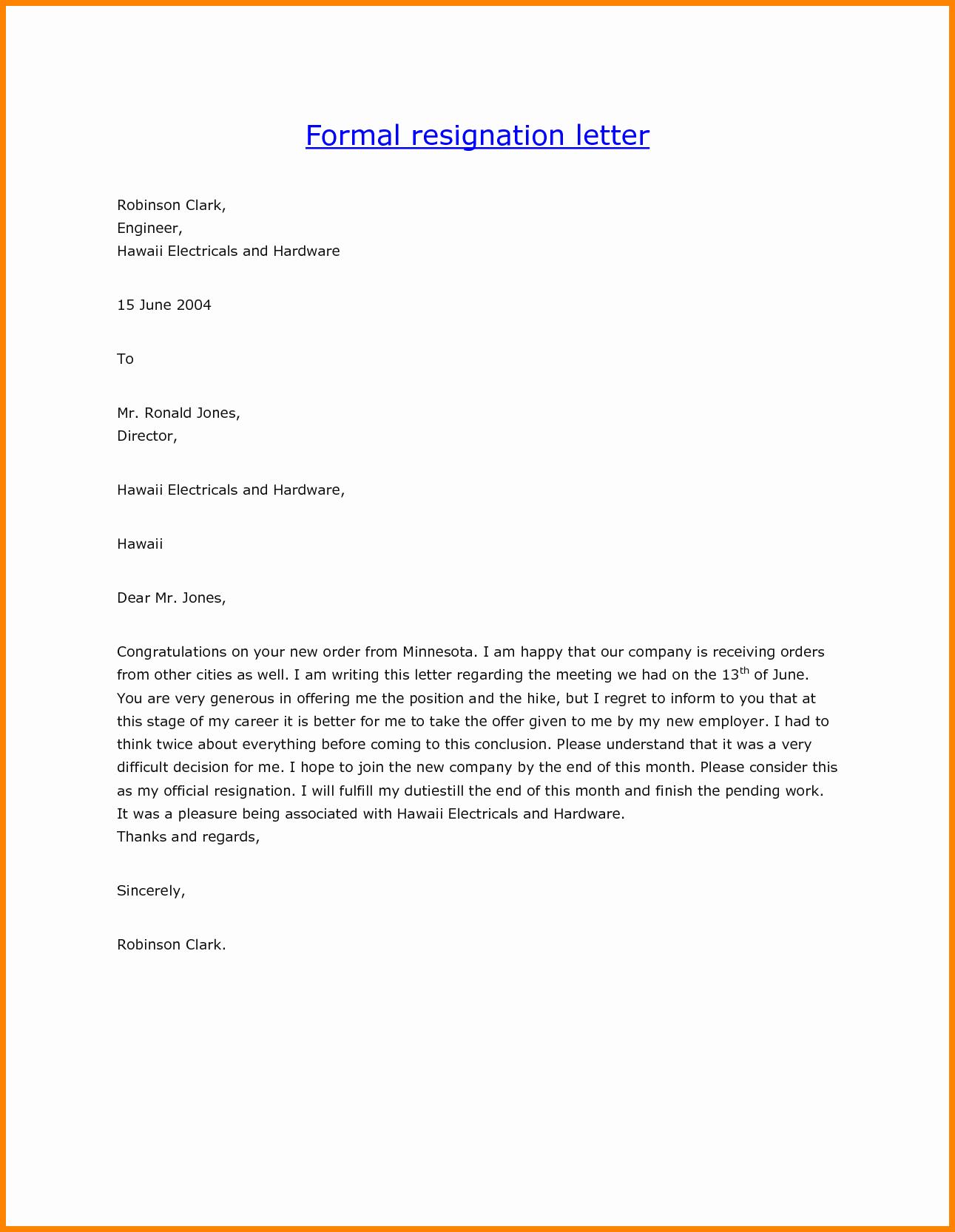 Formal Resign Letter Template Lovely 7 formal Resignation Letter Template