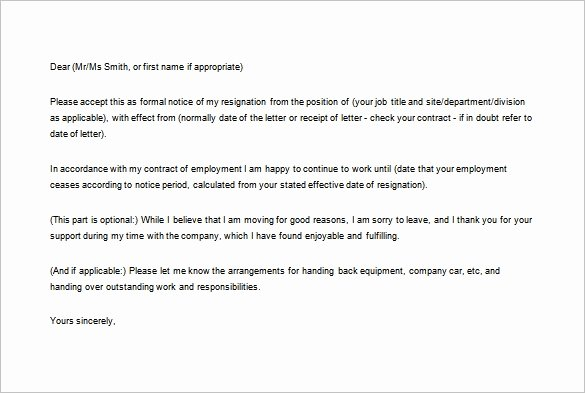Formal Resign Letter Template Luxury 12 formal Resignation Letter Template Free Word Excel