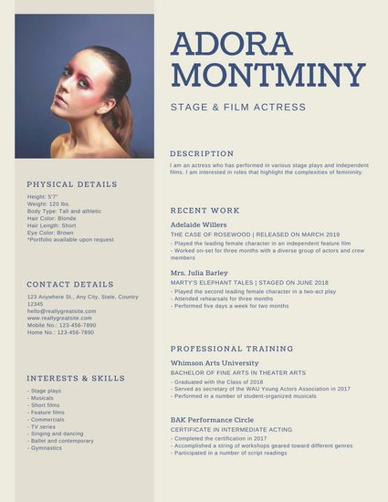 Free Acting Resume Template Beautiful Customize 29 Acting Resume Templates Online Canva