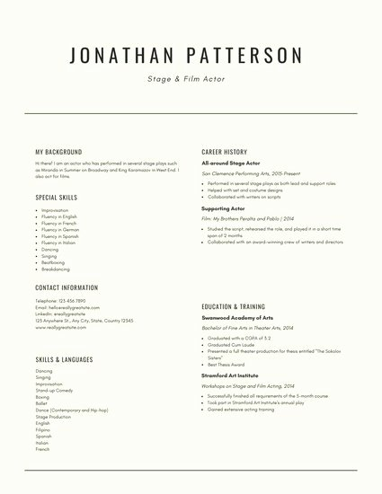 Free Acting Resume Template Best Of Customize 29 Acting Resume Templates Online Canva