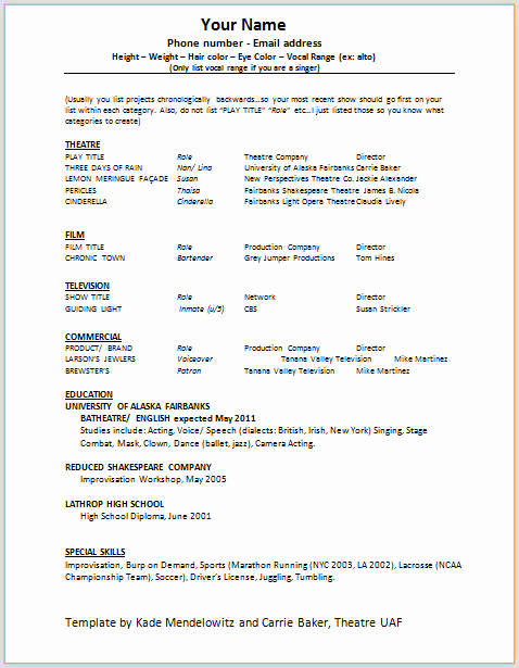 Free Acting Resume Template Best Of Document Templates Acting Resume format