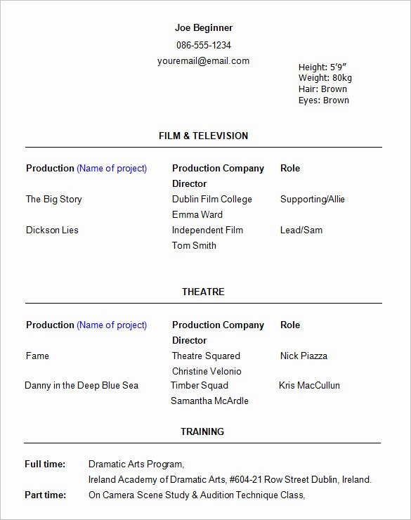 Free Acting Resume Template Best Of Free 5 Beginner Mercial Acting Resume Template