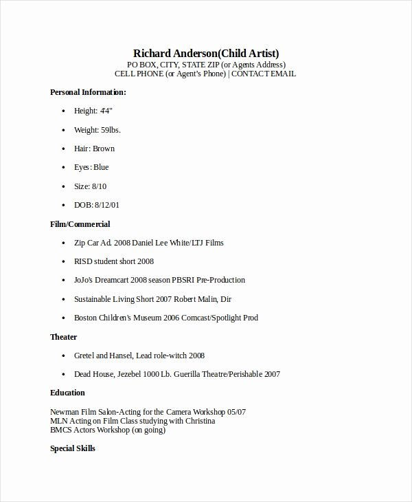 Free Acting Resume Template Elegant 10 Acting Resume Templates Pdf Doc