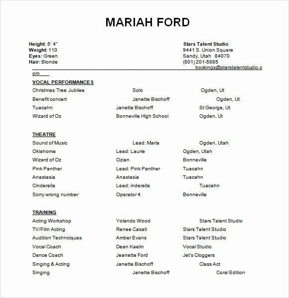 Free Acting Resume Template Elegant Free 18 Useful Sample Acting Resume Templates In Pdf