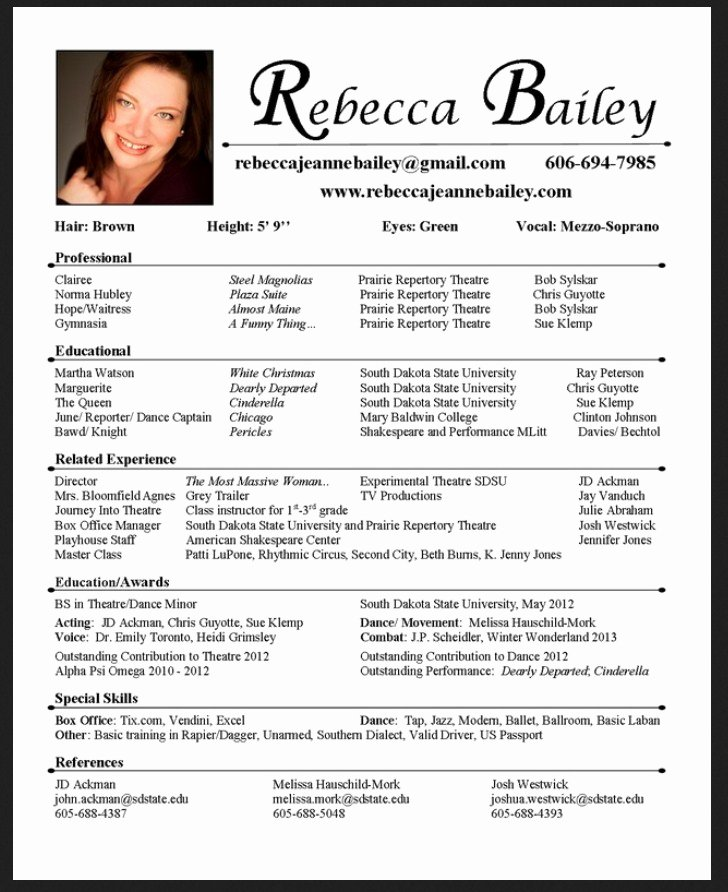 Free Acting Resume Template Fresh 10 Acting Resume Template for Microsoft Word