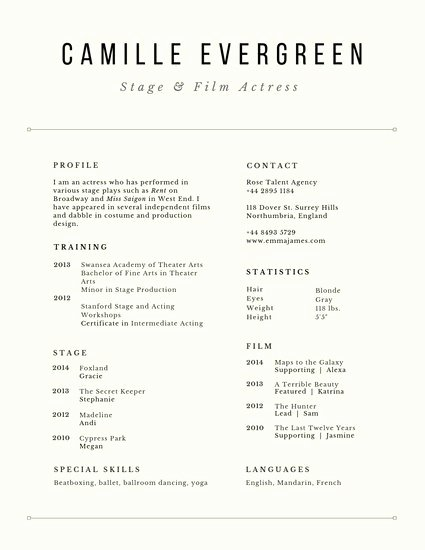 Free Acting Resume Template Fresh Customize 29 Acting Resume Templates Online Canva