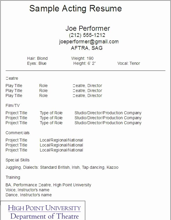 Free Acting Resume Template Inspirational Best 25 Acting Resume Template Ideas On Pinterest