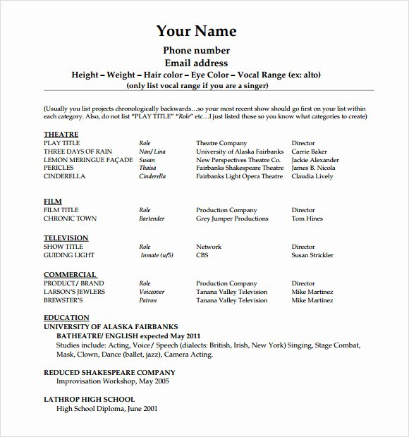 Free Acting Resume Template Inspirational Free 18 Useful Sample Acting Resume Templates In Pdf