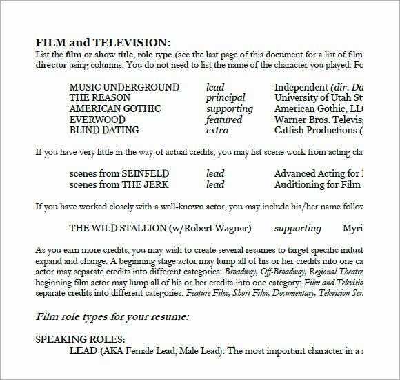 Free Acting Resume Template Luxury 7 Acting Resume Samples Examples Templates