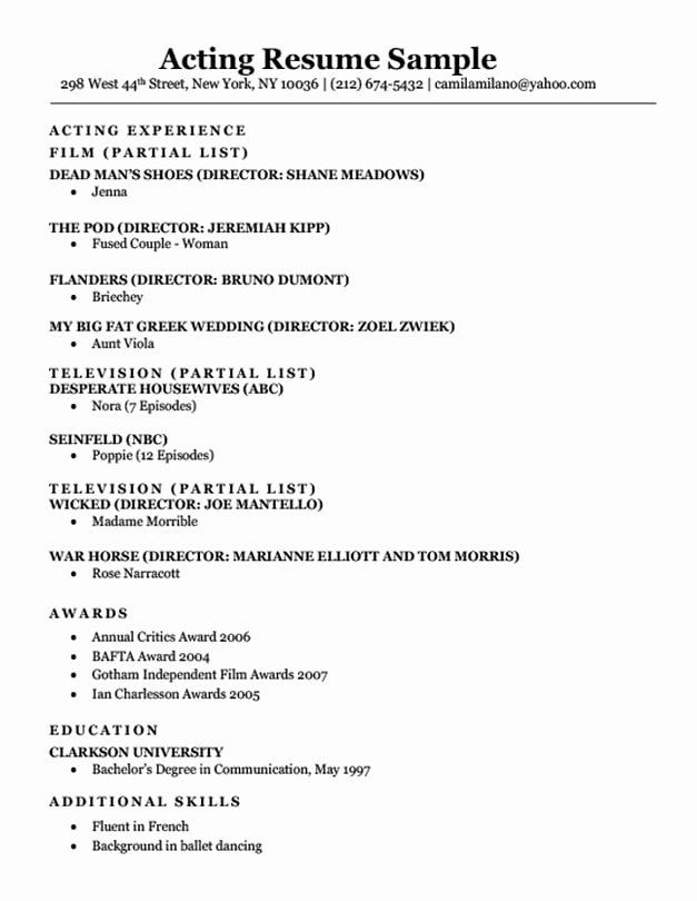 Free Acting Resume Template New Acting Resume Sample & Writing Tips