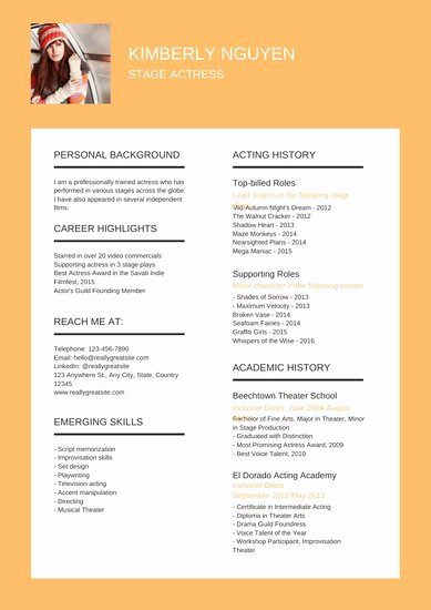 Free Acting Resume Template New Customize 27 Acting Resume Templates Online Canva