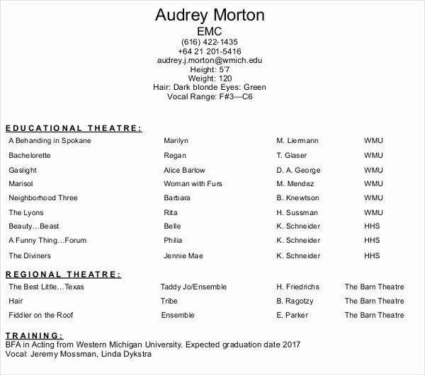 Free Acting Resume Template Unique 10 Acting Resume Templates Pdf Doc