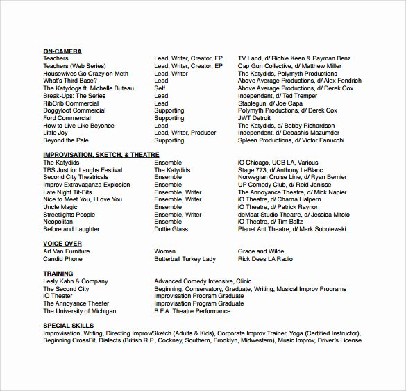 Free Acting Resume Template Unique Free 18 Useful Sample Acting Resume Templates In Pdf