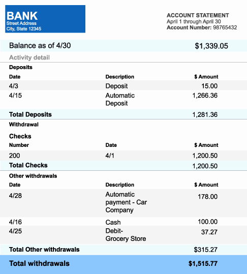 Free Bank Statement Template Elegant 5 Bank Statement Templates formats Examples In Word Excel