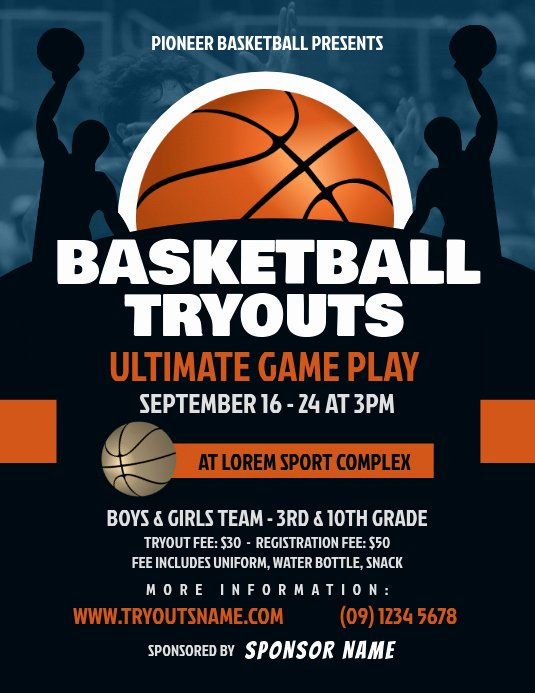 Free Basketball Flyer Template Luxury Copy Of Basketball Tryouts Flyer