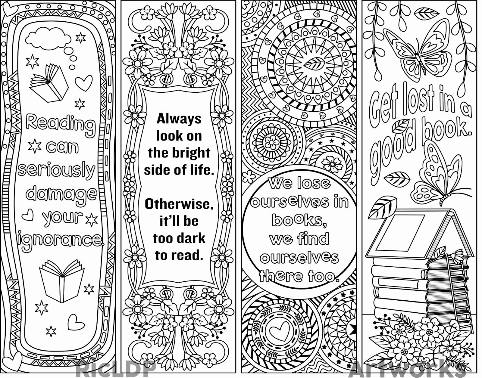Free Blank Bookmark Template Luxury Ricldp Artworks Printable Coloring Bookmarks