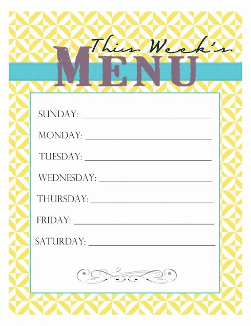 Free Blank Menu Templates Awesome 20 Free Menu Planner Printables