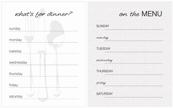 Free Blank Menu Templates Beautiful 20 Free Menu Planner Printables