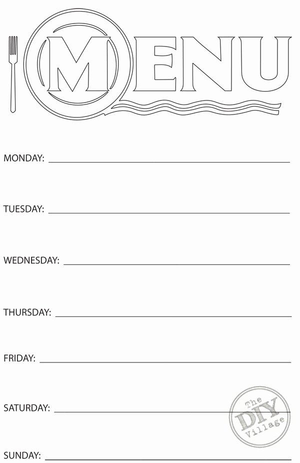 Free Blank Menu Templates Best Of Free Printable Weekly Menu Planner the Diy Village