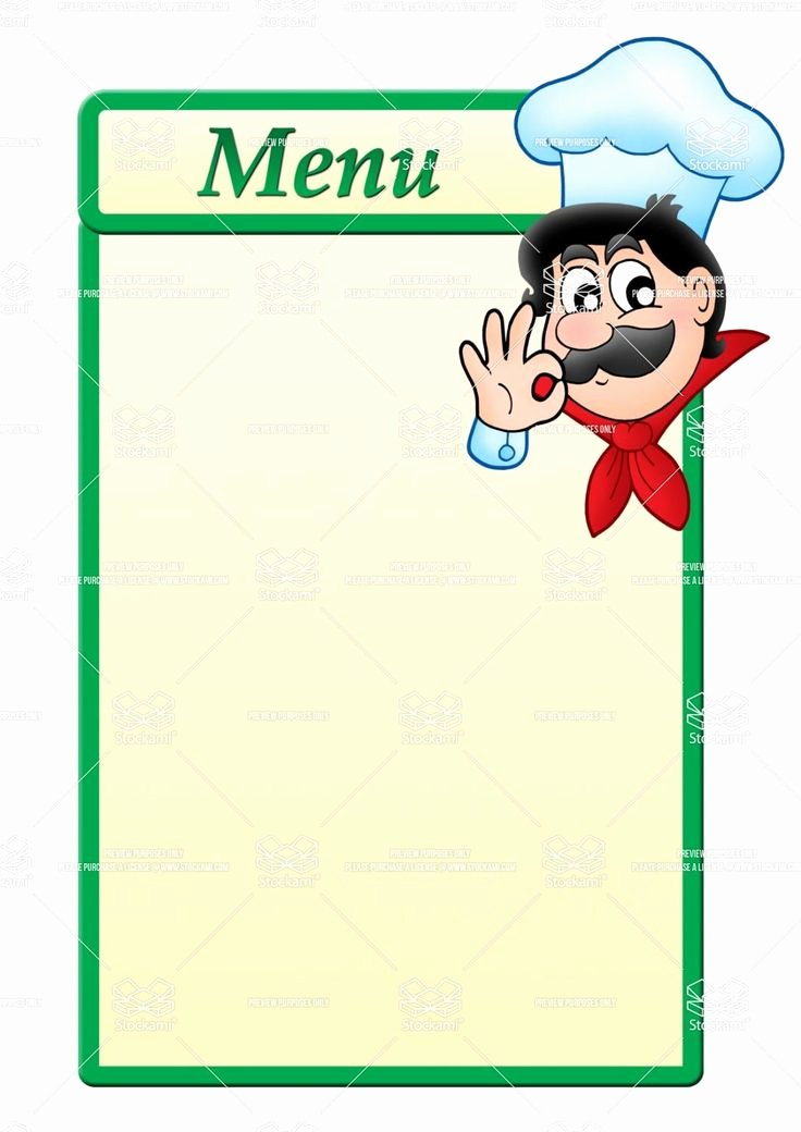Free Blank Menu Templates Best Of Stock Image Menu Template with Cartoon Chef 1 061